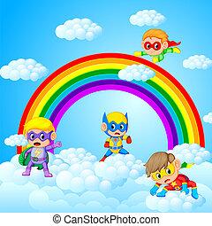 paisaje, niños, superhero, cielo, plano de fondo, juego, ...