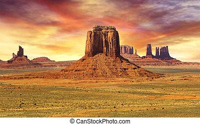 paisaje, ocaso, monument valley, salvaje