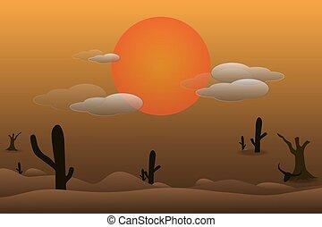 paisaje, Occidental, desierto