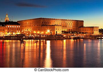 paisaje, palacio, real, estocolmo, suecia, noche