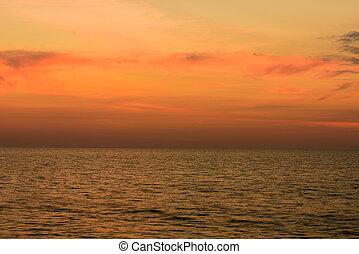 paisaje, playa, nai, provincia de phuket, yang, ocaso, ...