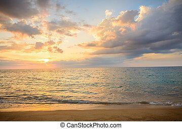 paisaje, playa, phuket, vista, surin, punto