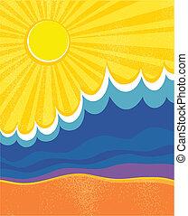 paisaje., poster., ilustración, vector, mar, ondas