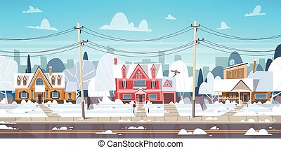 paisaje, pueblo, o, suburbio, casa, cima, edificios, ...