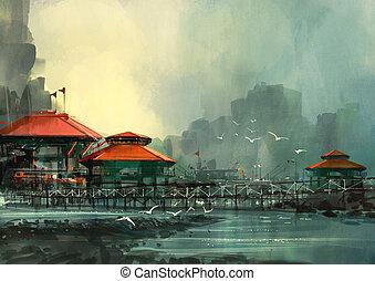 paisaje, puerto, hermoso