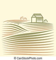 paisaje rural, con, casa