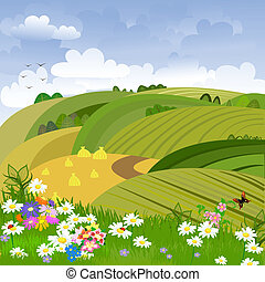 paisaje rural, con, flor, pradera