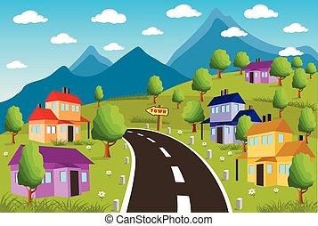 paisaje rural, con, pueblo pequeño