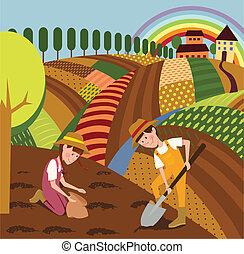 paisaje rural, y, granjeros