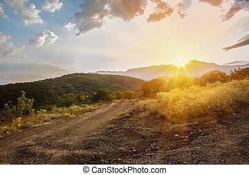paisaje, salida del sol, en, el, tierras altas