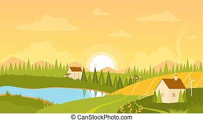 paisaje, salida del sol, granja, prado, verde, casas, rural, pastoral, paisaje, colinas