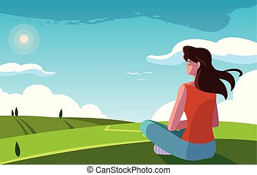 paisaje, sentado, observar, naturaleza, mujer