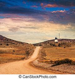 paisaje., solitario, natural, cabo, área, de, parque, rural, andalusia., agave, español, almeria., plants., gata, montañas