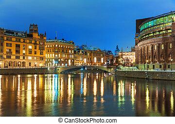 paisaje, suecia, estocolmo, invierno, noche