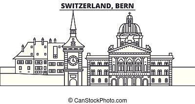 paisaje., suiza, cityscape, señales, illustration., vector, vistas, famoso, línea, contorno, ciudad, lineal, berna