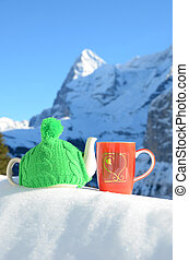 paisaje, taza, olla té, gorra, contra, alpino