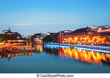paisaje, templo de confucius, nanjing, anochecer
