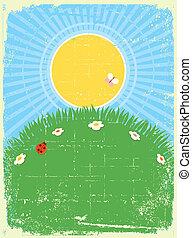 paisaje., texto, tarjeta, plano de fondo, verano, vector, vendimia