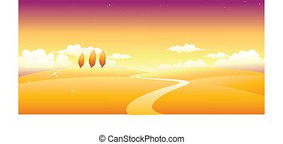 paisaje, trayectoria, encima