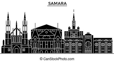 paisaje urbano, edificios, golpes, editable, casas, samara,...