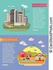 paisaje urbano, ilustración, con, camino, alto, edificios, rascacielos, coche, bicicleta, plane., granja, paisaje, ilustración, con, campos, cortijo, charca, cultive animales