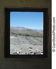 paisaje, ventana, por, desierto
