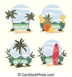 paisaje, verano, conjunto, tropical, caricaturas, playa