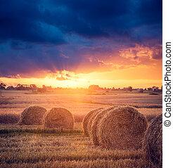 paisaje, verano, granja, Almiares, ocaso, vista