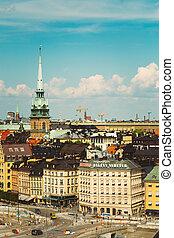 paisaje, verano, viejo, escénico, estocolmo, pueblo, suecia