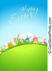 paisaje verde, plano de fondo, con, huevos de pascua