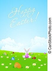 paisaje verde, plano de fondo, con, huevos de pascua, y, conejo