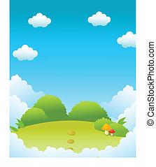 paisaje verde, y azul, cielo
