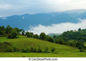 paisaje, vista, con, montañas, y, niebla