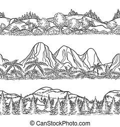 paisajes, montañas, bosque, mano, dibujado