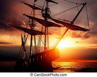 paisible, bateau, vieux, océan, pirate, ancien, sunset.