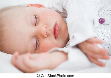 paisible, endormi, quoique, bébé, mensonge, tomber
