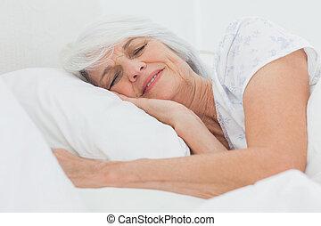paisible, femme, dormir