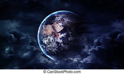 paisible, fond, bleu, ciel nuit, à, la terre, étoiles, beau, nuages, incandescent, horizon., éléments, meublé, par, nasa
