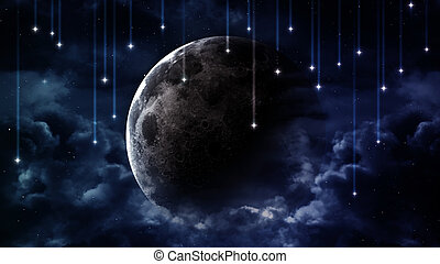 paisible, fond, bleu, ciel nuit, à, lune, étoiles, beau, nuages, incandescent, horizon., éléments, meublé, par, nasa
