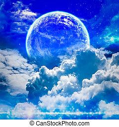 paisible, fond, ciel nuit, à, pleine lune, étoiles, beau