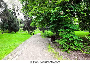 paisible, parc, dans ville
