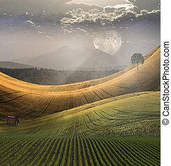 paisible, paysage, à, montagne
