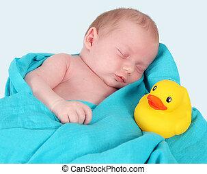 paisiblement, doux, isolé, jaune, dormir, nouveau né, duckie.