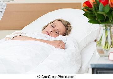paisiblement, reposer, hôpital, femme, malade