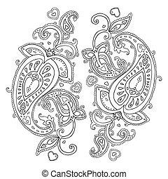 paisley., εθνικός , ornament.