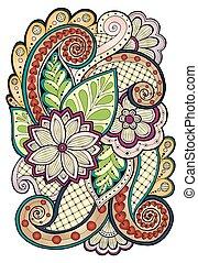 paisley., ベクトル, 背景, いたずら書き, 花, doodles