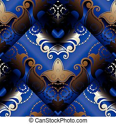 Paisley 3d seamless pattern. Vector dark blue floral background.