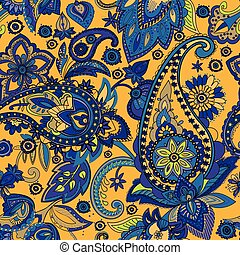 """Paisley. A pattern based on the traditional textile figure """"Turkish cucumber"""" or """"Paisley"""". Vintage style."""