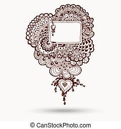 paisley, astratto, henné, illustrazione, vettore, disegno, mehndi, floreale, doodles, element.