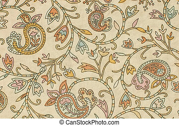 colorful paisley print fabric background on a foundation of beige